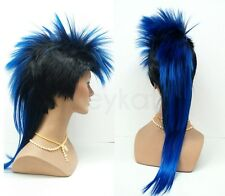 Mens Black Blue Mohawk Wig Punk Rock Long Straight Synthetic Costume