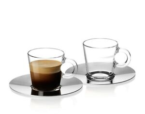 Nespresso View Collection set 2 Espresso Cups and 2 Stainless Steel Saucers