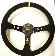 Suede Deep Dish Steering Wheel OMP Yellow Stitching Drift NARDI SPARCO NISMO