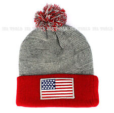 USA American Flag Pom Beanie hat Stars-Stripes Thick knit Winter cap- H.Grey/Red