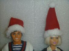 (2) Dark Red Santa Hats for Your Barbie~*~Also Fit Ken Fluffy Rim