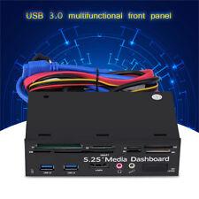 "PC Internal Card Reader USB 3.0 e-SATA Port 5.25"" Media Dashboard Front Panel ZY"