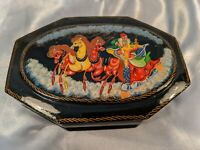 Vintage Russian Hand Painted Black Lacquer Christmas Trinket Box Horses Sleigh