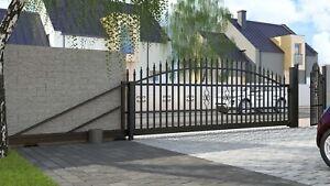 """Einfahrtstor Schiebetor """"Bellevue"""" 600cm Komplett-Set mit E-Antrieb Hoftor WOW"""