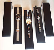 Five Black Faux Leather Bracelet Watch Ramps Jewelry Display Stands Ramp Stand