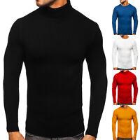 Pullover Sweater Rollkragen Strickpullover Sweatshirt Herren Mix BOLF Unifarben
