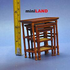 French Country Nesting Tables  Dollhouse miniature 1:12 walnut 3pcs set walnut