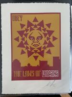 Shepard Fairey OBEY GIANT Variant LAWS OF PHYSICS LetterPress ART Print  AP RARE
