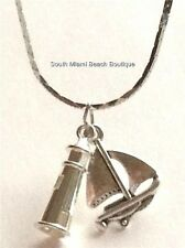 "Silver Sailboat Lighthouse Necklace 18"" Nautical Island Sailing Boat Plated"