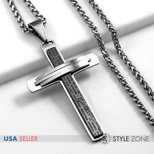 MEN Stainless Steel Bible Scriptures Jesus Black Cross Pendant Braid Necklace 2A