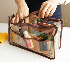 Women's Clear Dual Zipper Toiletry Cosmetics Bag in bag Female Organizer Handbag