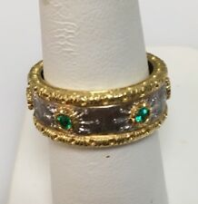 18k Yellow & White Gold  Band w/Emeralds .19ct Buccellati Style Made In Italy
