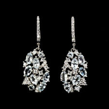 Sterling Silver Genuine Natural Aquamarine and Lab Diamond Drop Earrings