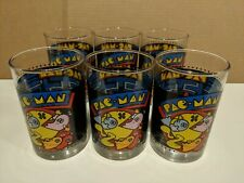 6 Vintage Pac Man 1980 Arby's 1980 Video Game Enameled Drinking Glasses