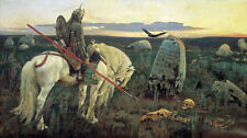 Germanic Tribe Knight On Horse German Viking Painting Canvas Art Print