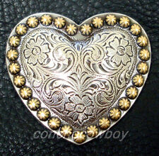 """WESTERN HORSE HEADSTALL TACK ANTIQUE HEART GOLD BERRY SADDLE CONCHOS 1-1/2"""""""