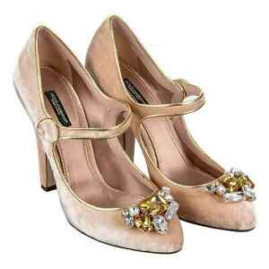 Dolce & Gabbana Velvet Court Shoes Coco Crystals Brooch Heels Beige 39 07851