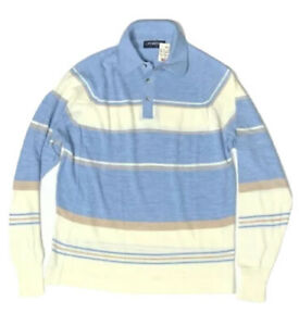Puritan Vintage 1980s Mens New NOS Collared Sweater Blue Cream Pullover Orlon