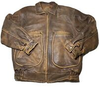 Mens M New River Distressed Brown Leather Flight Bomber Jacket Insulated Biker