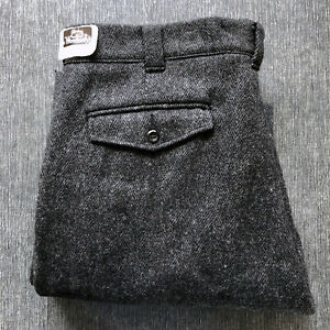 New Old Stock Woolrich Gray Herringbone Wool Fishing Hunting Pants 38 x 34 1433