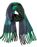 Free People Oversized Fringe Plaid Scarf Blue Green Soft Comfy Cozy GR8 Gift NWT