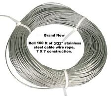"3/32"" X 160 Feet 7X7 Construction Stainless Steel Cable Wire Rope. FREE SHIPPING"