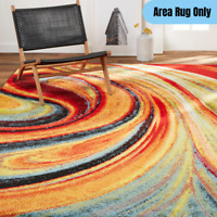 5 x 7 ft. Modern Abstract Area Rug Bright Vibrant Fiery Pattern Soft Medium Pile