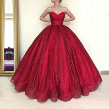 Red Sweetheart Long Glitter Evening Dress Puffy Ball Gown Formal Gown Custom