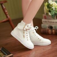 Women's Fashion Rivet Buckle Zip Sneakers Lace Up High Top Canvas Casual Shoes