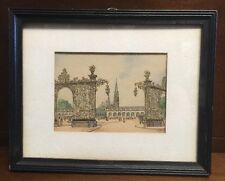 French Artist Barday Signed Hand-Colored Sketch Paris La Fontaine d'Amphitrite