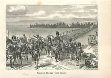 1805 Passage du Rhin par les troupes françaises de Napoléon Ier GRAVURE 1883