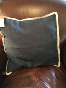 Pottery Barn Belgian Flax Linen Flange Pillow Covers Denim/flax border