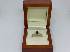 9ct Yellow Gold Ring with 0.02ct Diamond Set and a Black Stone