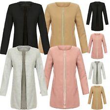 Damen Fashion Mantel Übergangsjacke Überzieher Elegant Kragenlos Blazer 10049