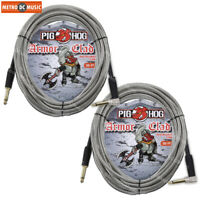 """2-Pack Pig Hog Armor-Clad 1/4"""" Guitar Instrument Cable Cord 20ft Right-Angle"""