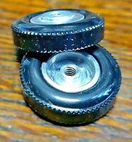 """Vintage wheel and tires 1/8"""" threaded axle 7/8"""" diameter by 1/4' wide. Hard."""