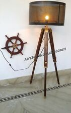Antique Retro Vintage Wooden Tripod Floor Lamp Shade Home Decor Without Shade