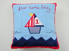 Gisela Graham Blue Cotton Seaside Boat Tooth Fairy Pillow Cushion Pouch 18x18cm