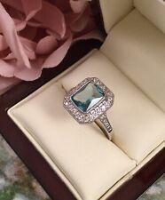 Vintage Jewellery Gold Ring Aquamarine White Sapphires Antique Deco Jewelry sz T