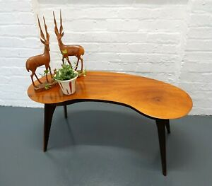 Vintage mid-century 1960s wooden kidney-shaped coffee table