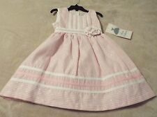 8696RARE EDITIONS Girls 6 Dress Light Pink Striped Silver Thread Flower Pleated