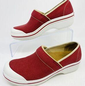 Dansko EUR 38 Volley Canvas Vegan Classic Clogs Shoes red EUC