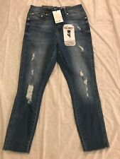 Seven7 Women's High Rise Ankle Skinny Jeans W/ Frayed Cuff size 4