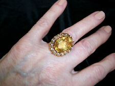 "Vintage Citrine and Diamond Coctail Ring, Set In a Custom ""Basket-Style"" Base"