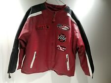 Tanners Avenue Women's Red Leather Moto Racing Jacket w/ Patches 4XL Black White