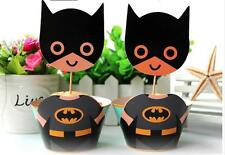 24pcs Batman Cupcake Cake 12 Toppers +12Wrappers Comic Kids Birthday Party Decor