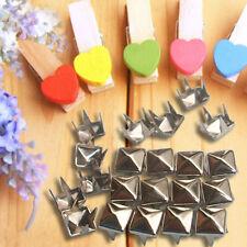 100PCS DIY Metal Craft Pyramid Silver Studs Leathercraft Spikes Spots *