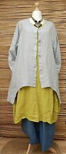 LAGENLOOK LINEN AMAZING BEAUTIFUL 2 POCKETS LONG JACKET*GREY*BUST UP TO 48""