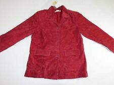 Jessica Holbrook Women's 100% Suede Leather Jacket Large NWT Red Button Front