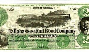 "$2 ""FLORIDA"" 1800'S (TALLAHASSEE RAILROAD) $2 ""FLORIDA"" 1800'S SUPER CRISPY!!!!!"